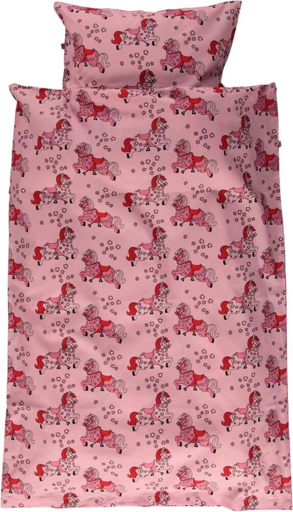 Småfolk voksen sengesæt med heste - sea pink - Dyne & pudebetræk - Småfolk