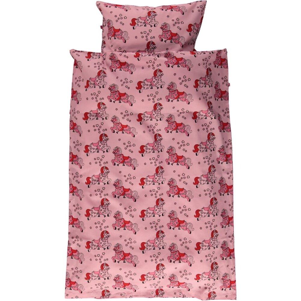 Småfolk Junior sengesæt med heste sea pink - Dyne & pudebetræk - Småfolk