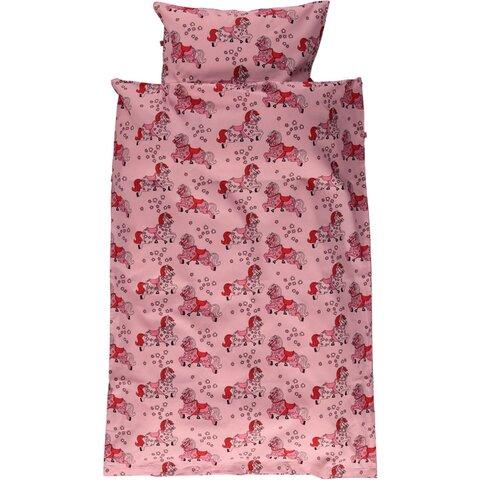 Junior sengesæt med heste sea pink