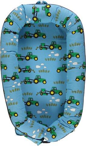 Luksus babynest med traktor blue grotto