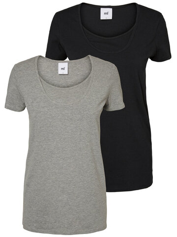 Mllea Organic Nell S/S T-shirt 2PK - Grå/sort