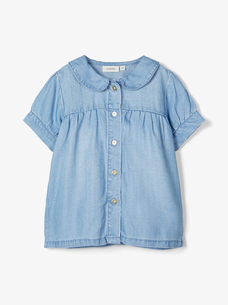 Image of Lil' Atelier Binie denim kortærmet skjorte - BS000053 (a81db303-37a4-4db3-ad93-455348eedf82)