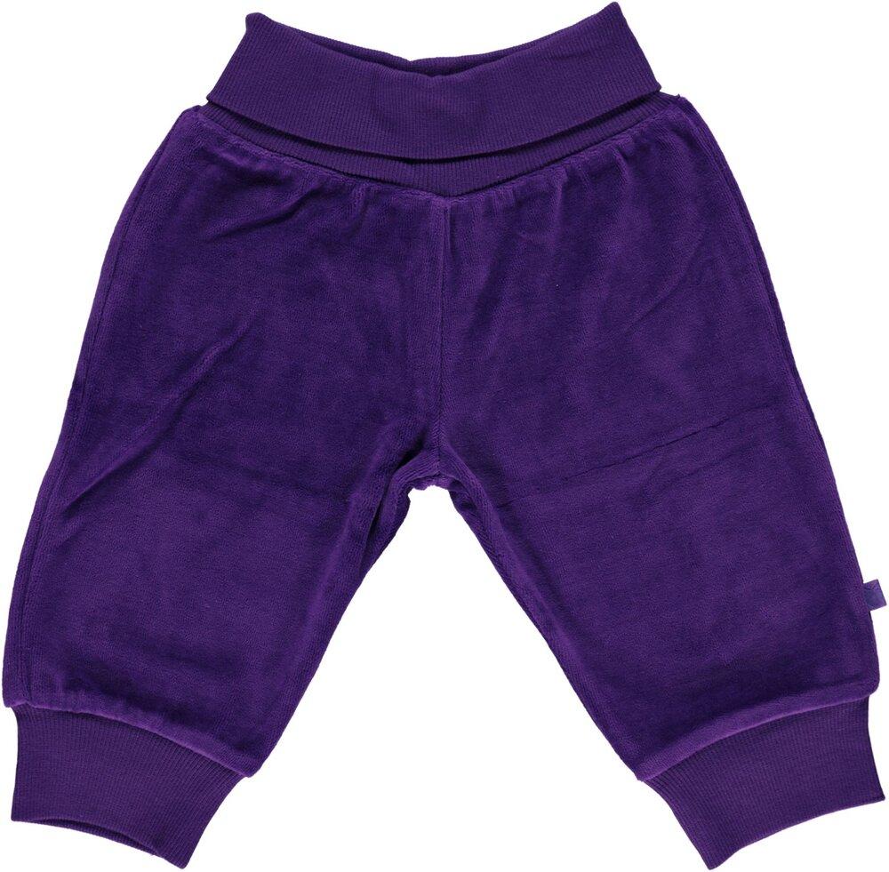 Småfolk Velour Bukser Med Bred Rib - 609 Purple Heart - Underdele - Småfolk