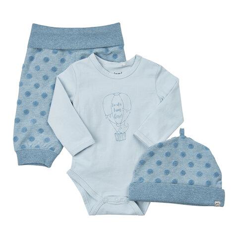 Baby Sæt Hue/Body/Bukser - 732 Blå