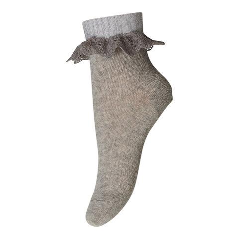 Ankel strømpe med blonde - 488-Grey