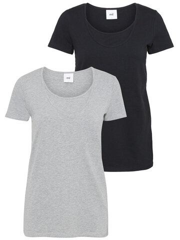 Mllea Organic Nell S/S T-shirt 2PK - Lys Grå Melange/Sort