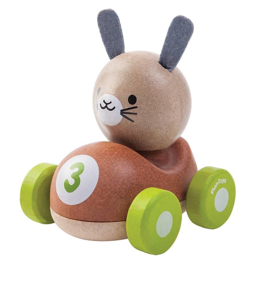 Plantoys Kanin Racerbil - Trælegetøj - Plantoys