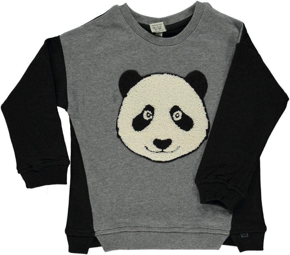 Småfolk Sweat Shirt Med Panda - M.Grey Mix - Overdele - Småfolk