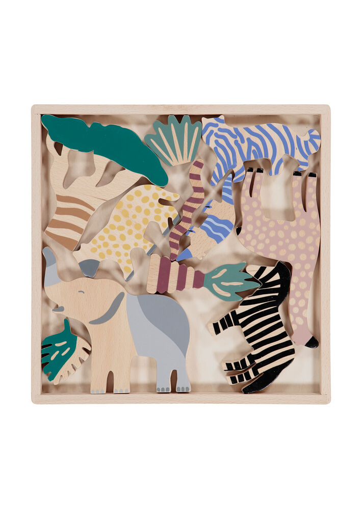 ferm Living Safari Animal Box - Set Of 12 - Trælegetøj - ferm Living