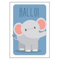 Elefant Hallo Plakat - 21x30 Cm