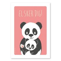 Plakat -  Panda & Unge - A4