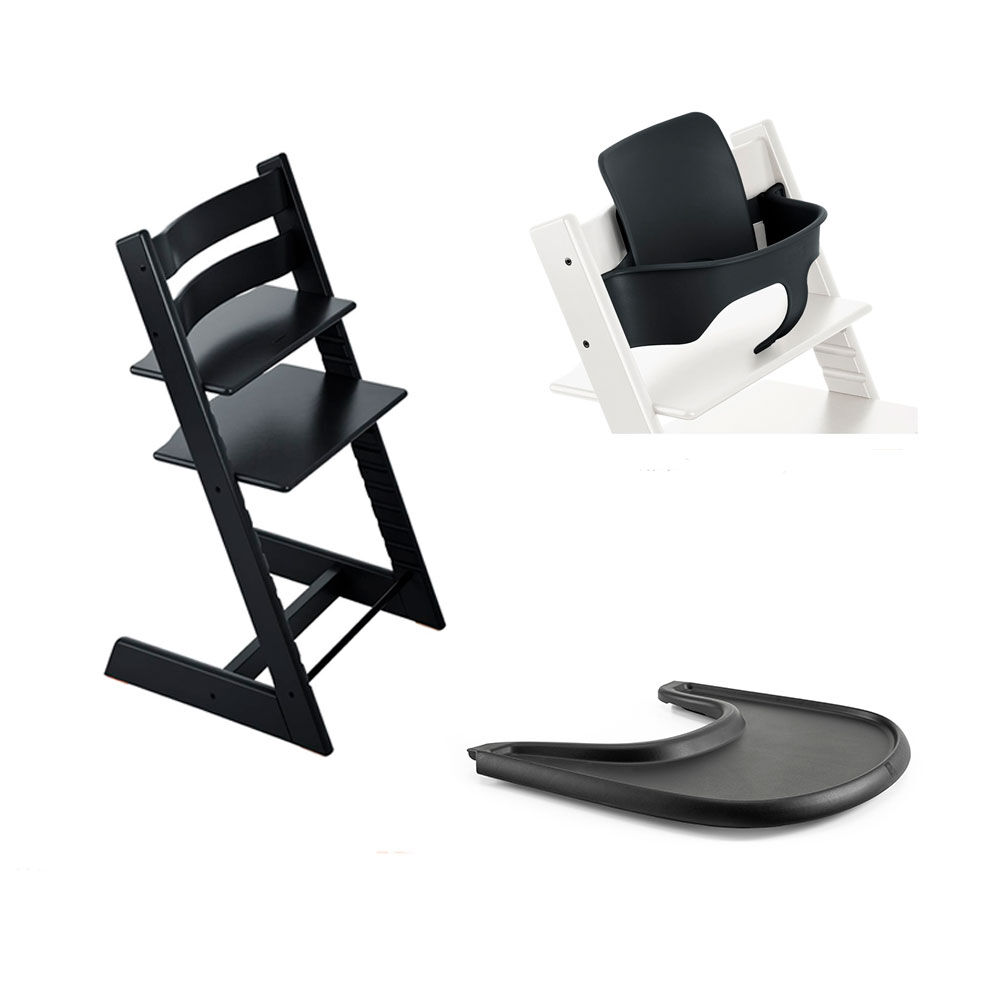 Image of TRIPP TRAPP® Tripp Trapp Stol Inkl. Babyset og Tray Black/Black (d1176e0f-e465-4b05-9d2a-6d15f85931db)