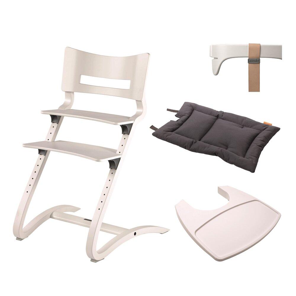 Leander® højstol combipakke med bøjle, hynde og bakke Hvid