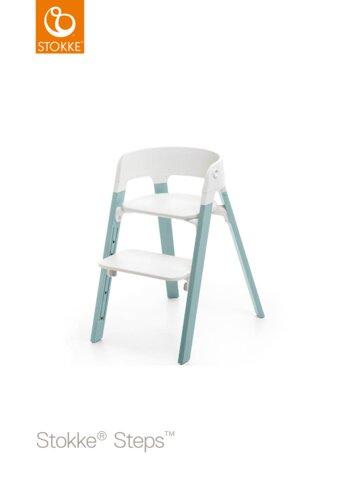Steps™ Højstol, Hvid/Aqua Blue