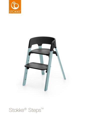 Steps™ Højstol, Bøg - Sort/Aqua Blue