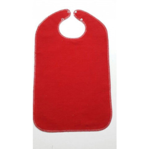 Rød hagesmæk m. membran og trykknapper, 50 cm.