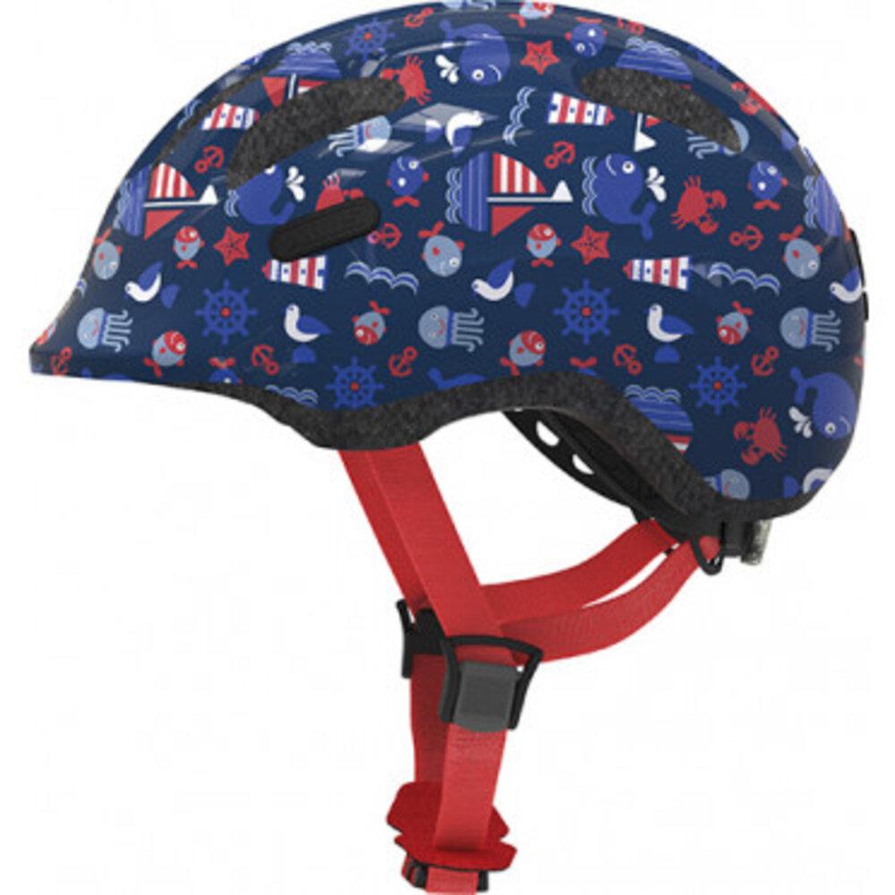 Image of   Abus Smiley hjelm m/ lys i spænde blå str S 45-50 cm