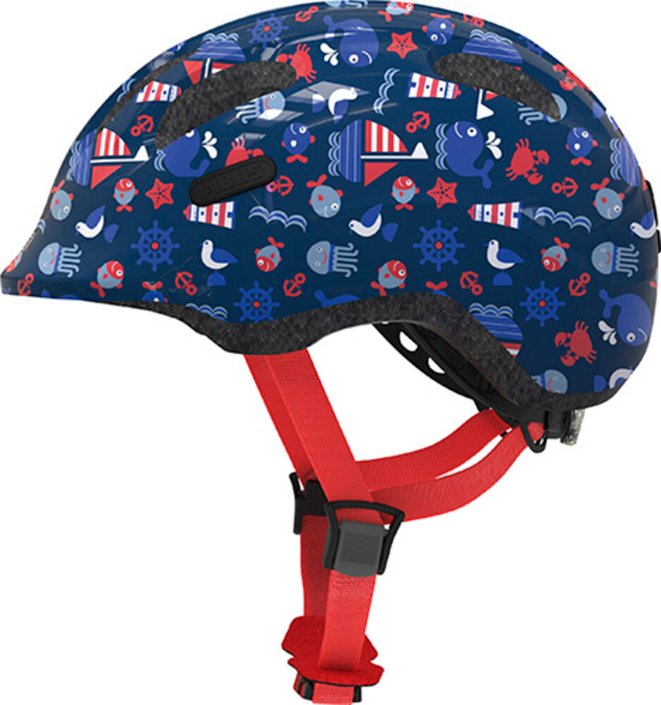 Image of   Abus Smiley hjelm m/ lys i spænde blå str M 50-55 cm