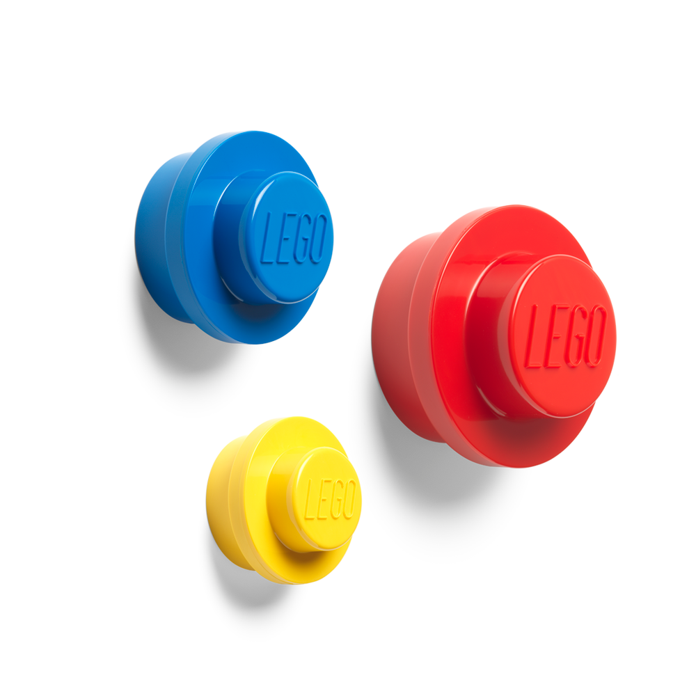 Image of   LEGO Storage Væg Knop Sæt - Rød, Blå og Gul