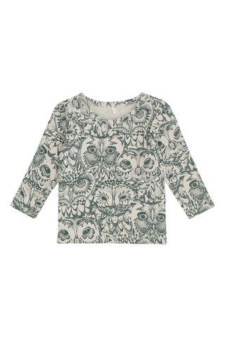 Baby Bella T-shirt - Cream, AOP Owl Green