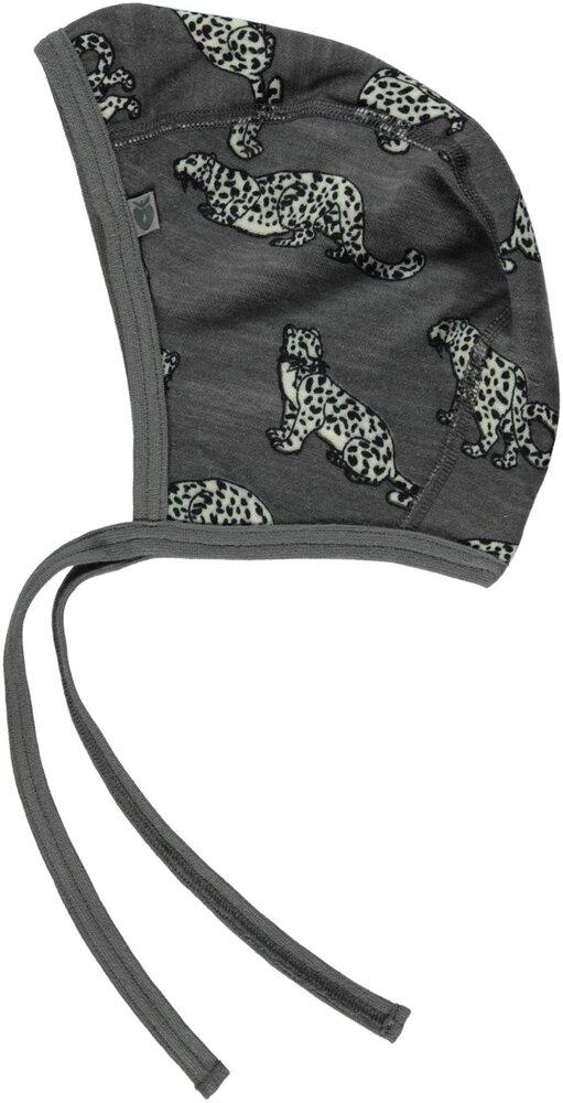 Småfolk Uldmix Kyse Med Leopard - Grey-237 - Huer & hatte - Småfolk