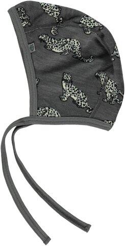 Uldmix Kyse Med Leopard - Grey-237