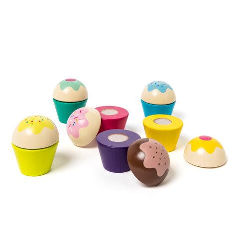 6 cupcakes af træ