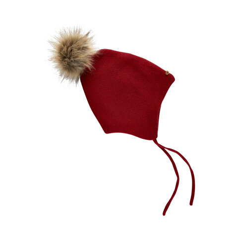 Hat strik w.fake fur pompom - 4656