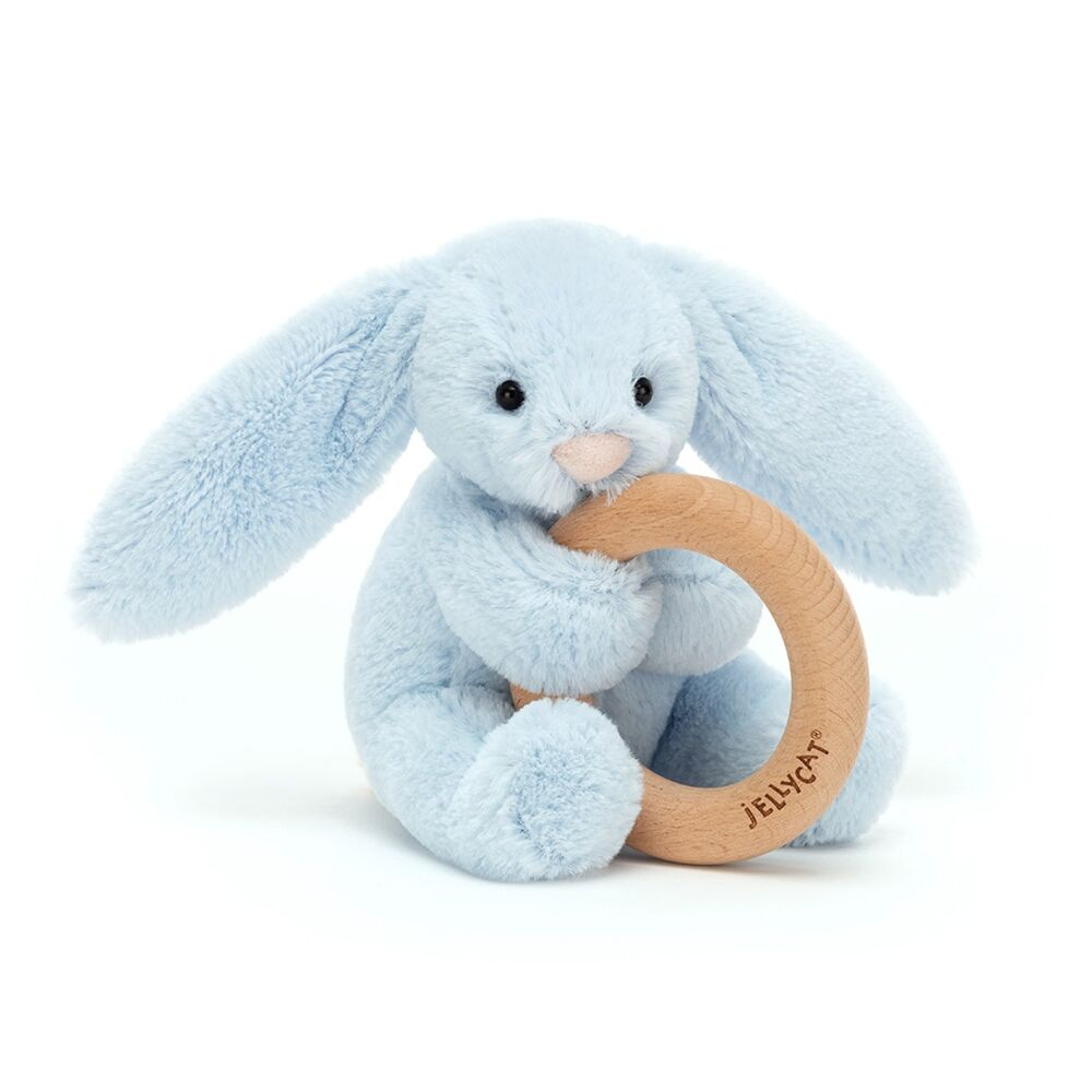 Image of JellyCat Bashful kanin lyseblå, m/træring (a042e698-0949-4426-9b3a-6660f4e2a840)