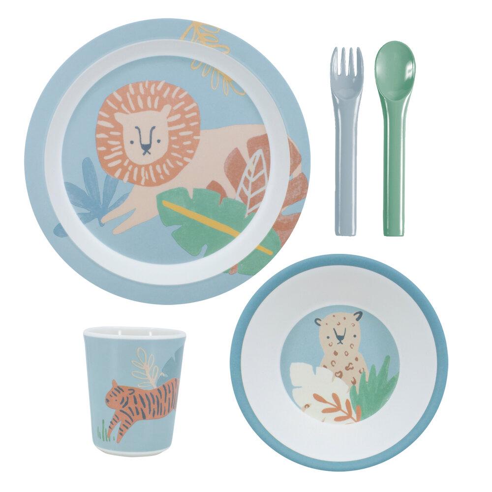 Sebra Melamin Spisesæt, 5 Dele, Wildlife, Eucalyptus Blue