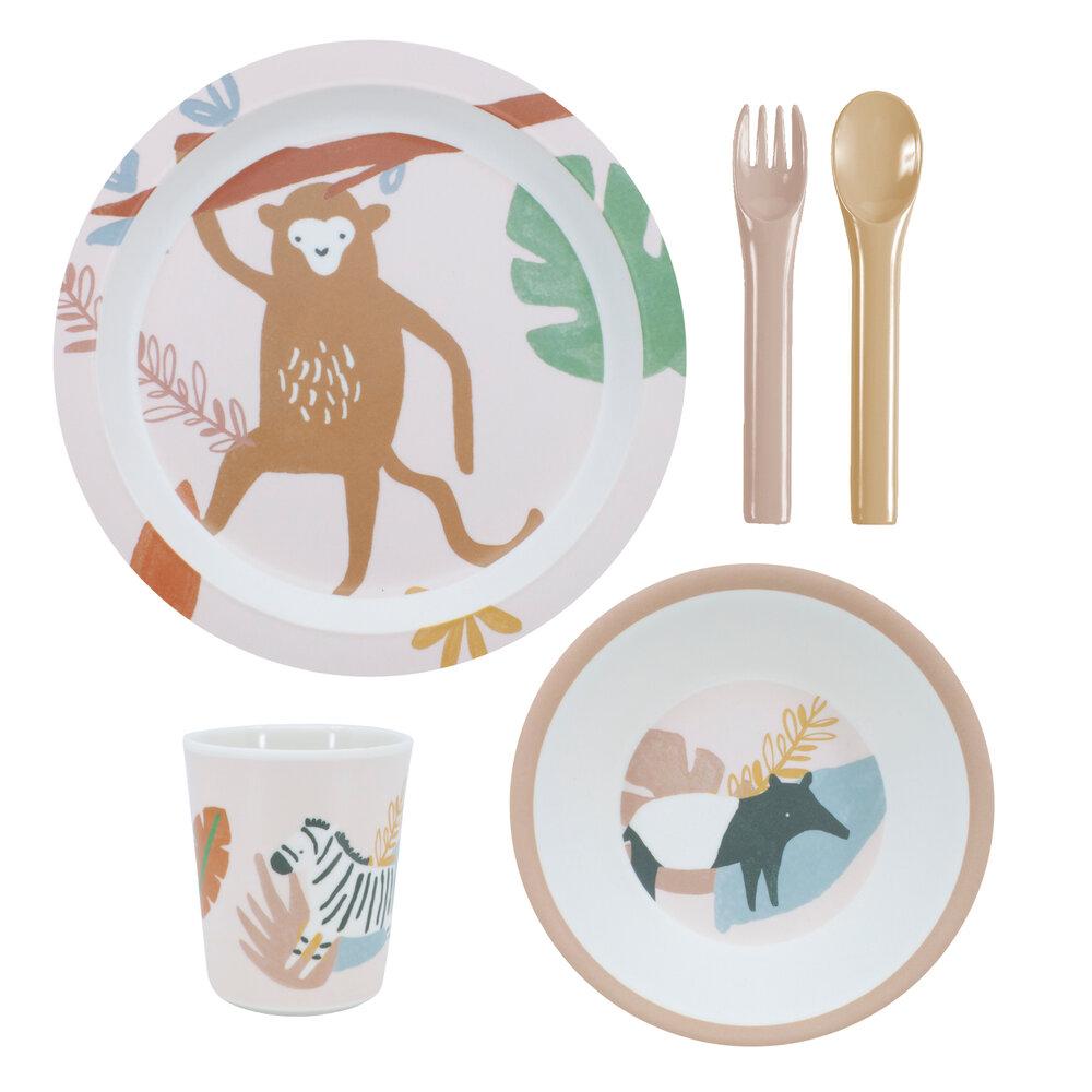 Sebra Melamin Spisesæt, 5 Dele, Wildlife, Sunset Pink