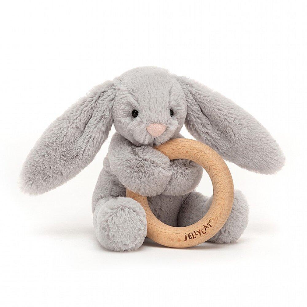 JellyCat Bashful kanin Silver, m/træring