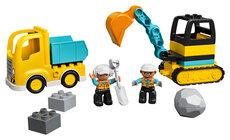 Lastbil og gravemaskine på larvefødder
