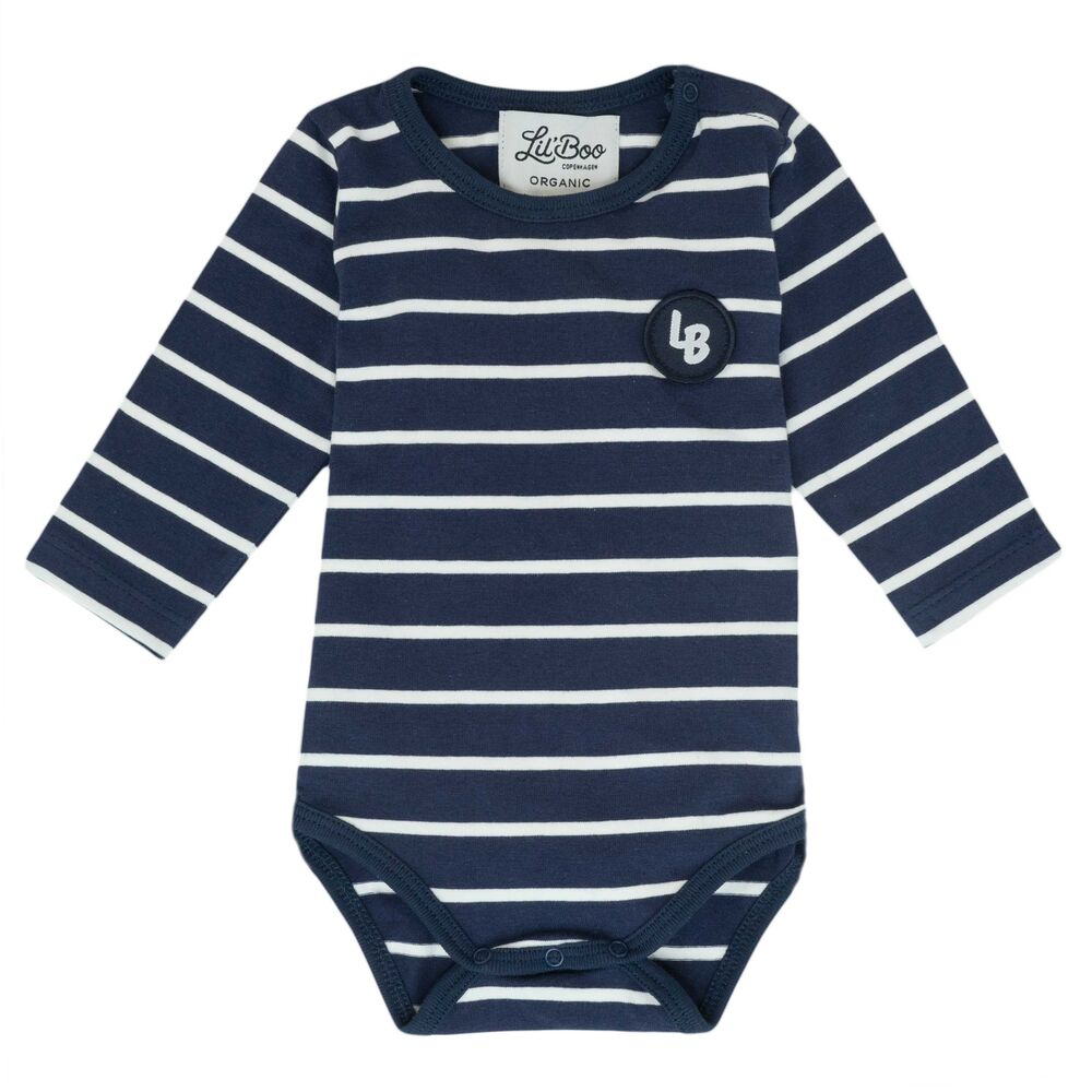 Image of Lil' Boo Stribet body - langærmet - NAVY/HVID (164d672c-693c-40c8-a8da-2a78b0be423f)