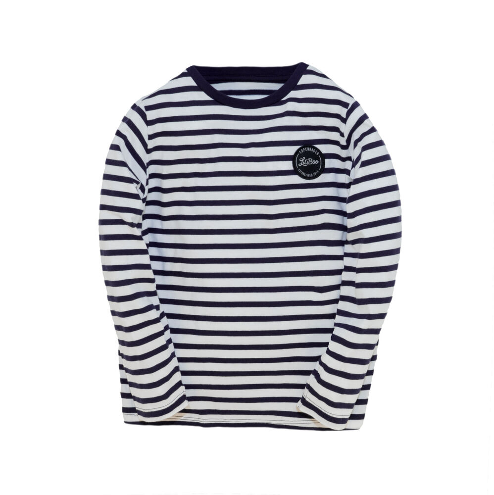 Image of Lil' Boo Stribet T-Shirt - NAVY/HVID (1eca704b-87cf-4c0e-adb5-f23e8881d14d)
