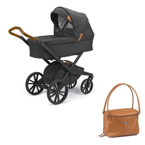 Odder Vida lux barnevogn med sort lux stel inkl. pusletaske