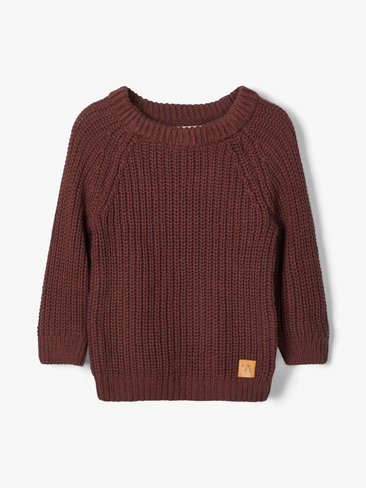 Image of Lil' Atelier Emilio LS knit - D.MAHOGANY (513930b3-a462-459b-86eb-f9f49a2e137c)