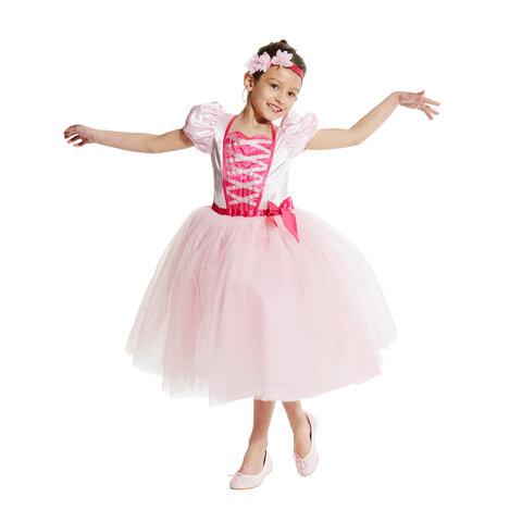 Rosa ballerina kostume, 6-8 år
