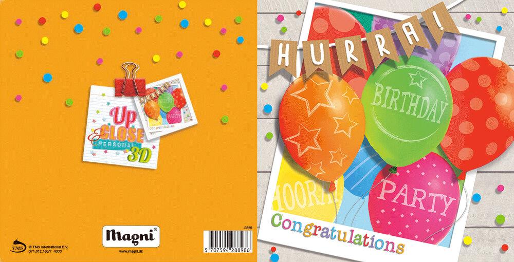 Image of Magni 3D Kort - Fødselsdagsfest Ballon (86149ae1-927b-47e5-b27a-75e807bab182)