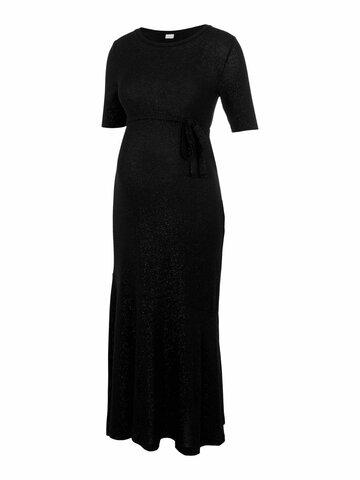Adette 2/4 jersey midi dress - BLACK