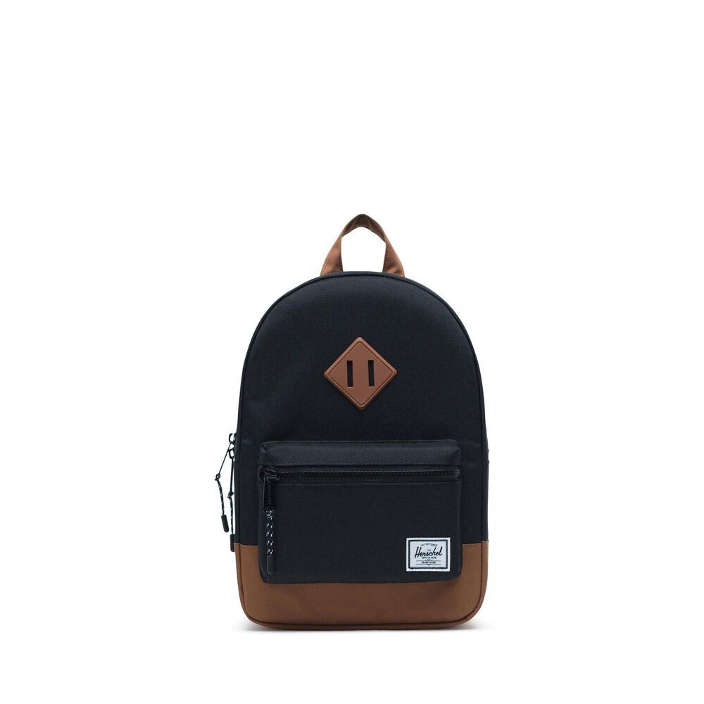 Image of Herschel Heritage Kids Rygsæk - Black/Saddle Brown (617deb26-621e-4e84-b422-6e7124a9b831)