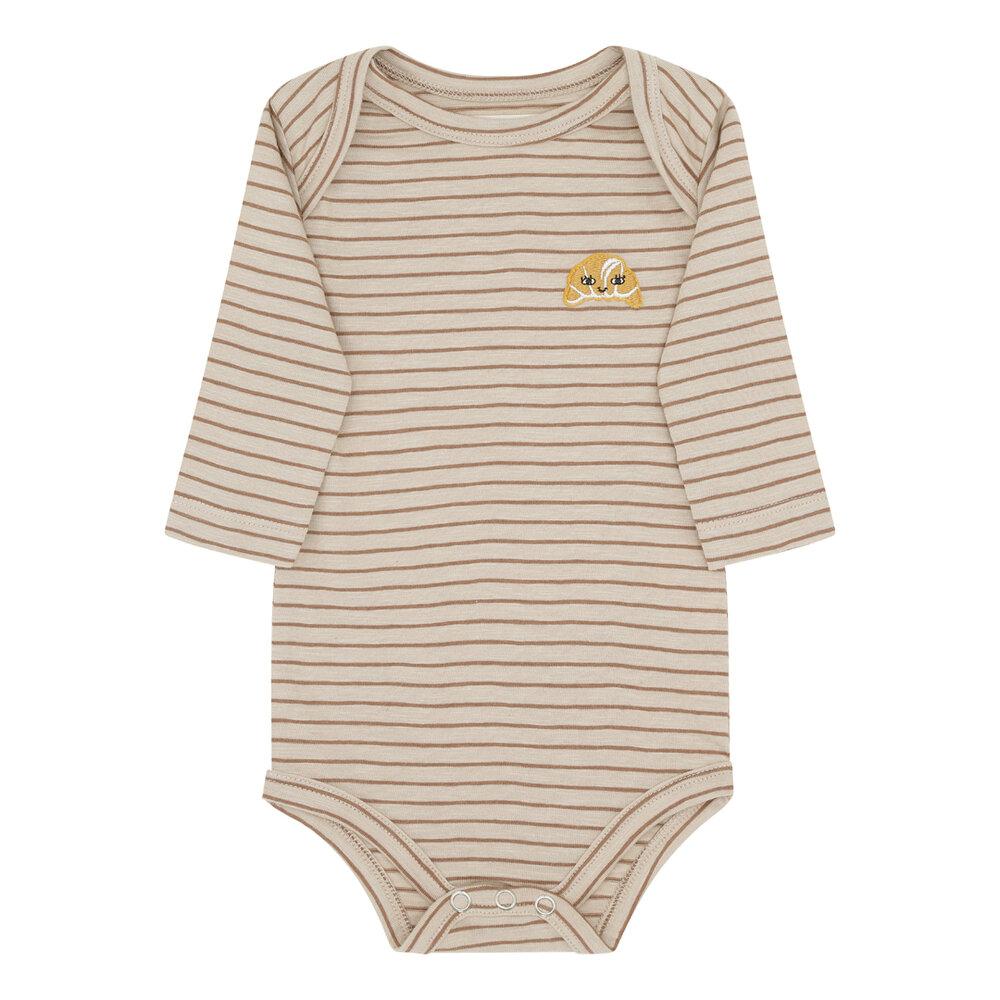 Image of Monsieur Mini Body med ærmer tynde striper med croissant - BEIGE/SIENNE (0234737d-3873-4285-8e5c-1418176b0f04)