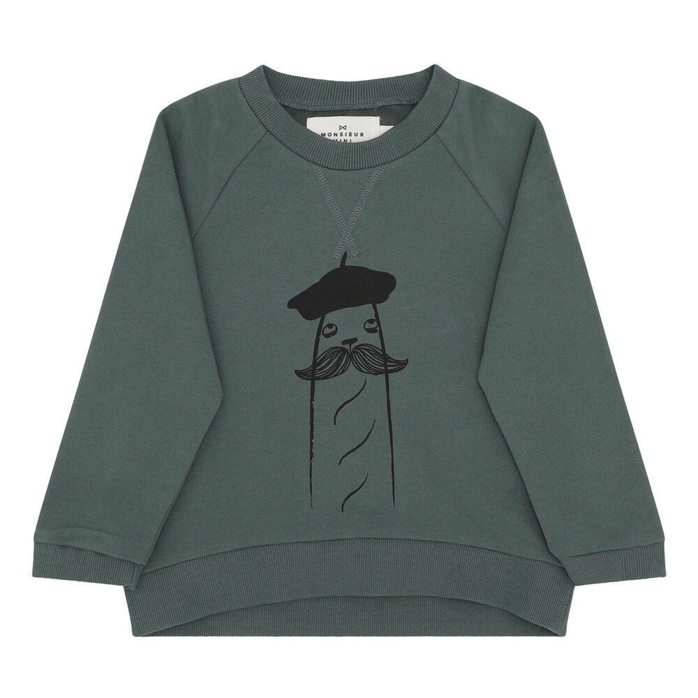 Image of Monsieur Mini Sweatshirt baguette - DARK FORREST (22a3054d-53be-4d03-90e6-61bf3b6ef485)