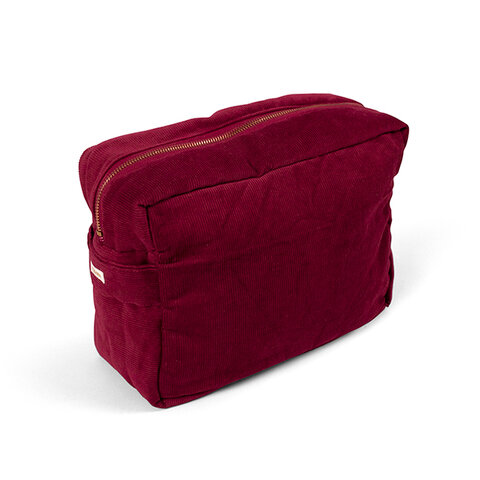 Toilettaske (stor) - fløjl, Deeply red