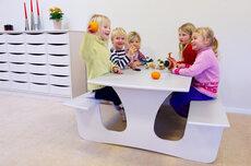 Væghængt bord med bænk L: 1200 mm - stor