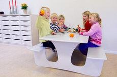 Væghængt bord med bænk L: 1200 mm - mellem