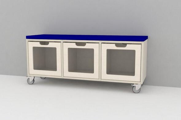 Mobil Kubus bænk med 3 kasser og madras