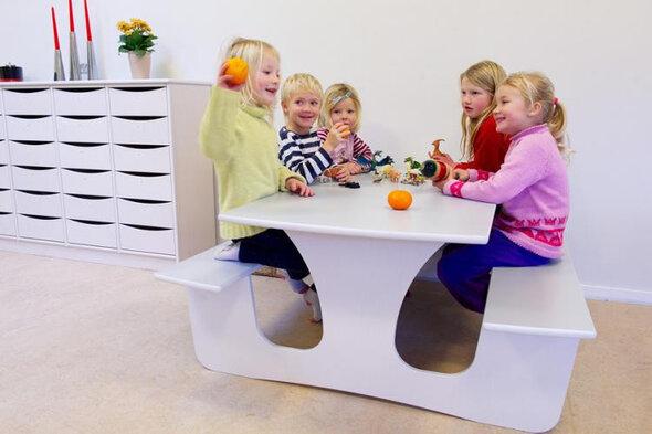 Væghængt bord med bænk L: 1200 mm - lille