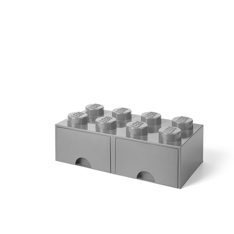 LEGO Opbevaringsskuffe Brick 8 - Medium Stone Grå