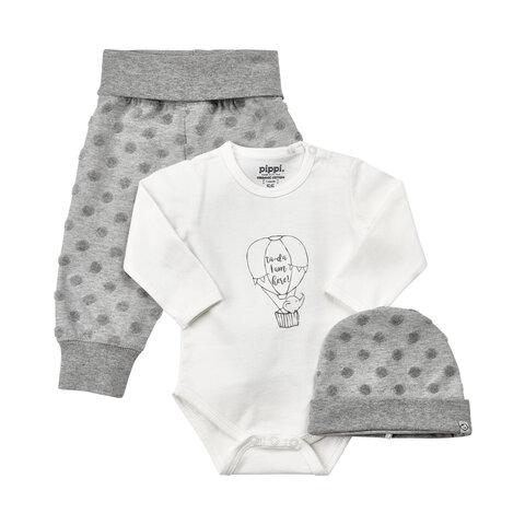 Baby Sæt Hue/Body/Bukser - 100 Hvid